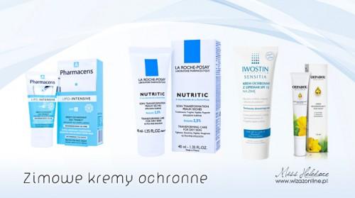Wybrane kremy ochronne - (od lewej: PharmacEris Lipo-Intensive, La Roche Posay - Nutritic, Ivostin - Sensitia, Oeparol - krem pod oczy